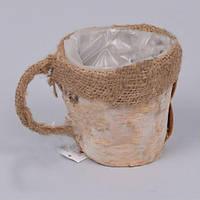 Кашпо Чашка березовая  для декора и флористических композиций