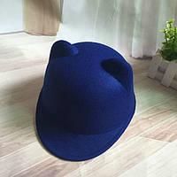 Шляпа женская фетровая жокейка Кошечка с ушками синяя , фото 1