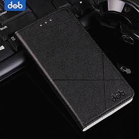 Чехол книжка для Meizu M5C боковой с отсеком для визиток, DOB, Черный