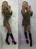 9d4313f4537 Стильное женское трикотажное платье удлиненное сзади ( расцветки)