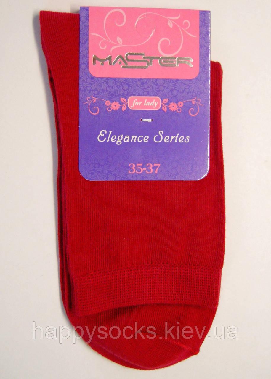 Высокие хлопковые носки красного цвета женские