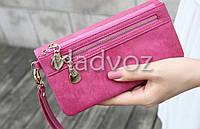 Модный женский кошелек клатч бумажник органайзер для телефона карточек денег розовый