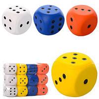 Мяч детский фомовый MS 0731 кубик, 6,3см, 4 цвета, 12шт в кульке