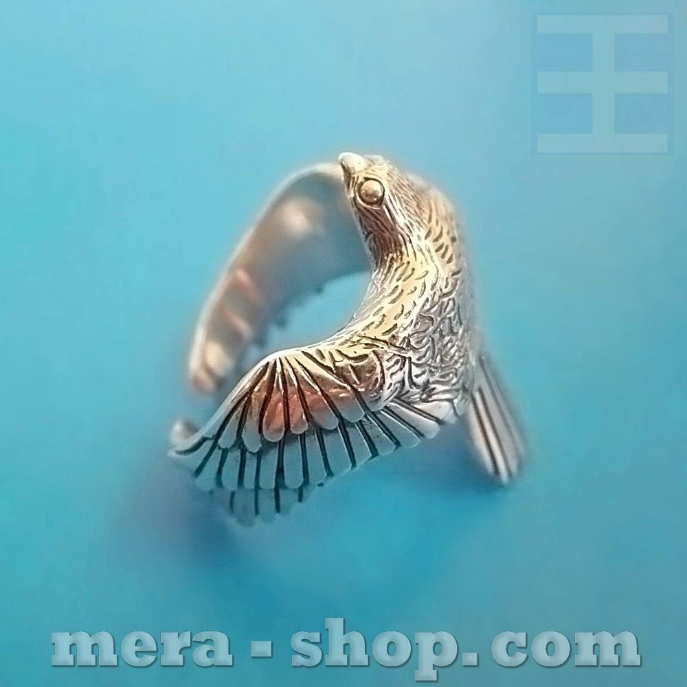 Кольцо Сокол из серебра 925 пробы