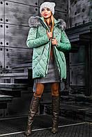 Стёганная зимняя куртка 2357,оливковый( 46-52)