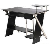 Компьютерный Стол GN-04 Серое стекло/Черный МДФ/Серая база 1100*580*745 AMF