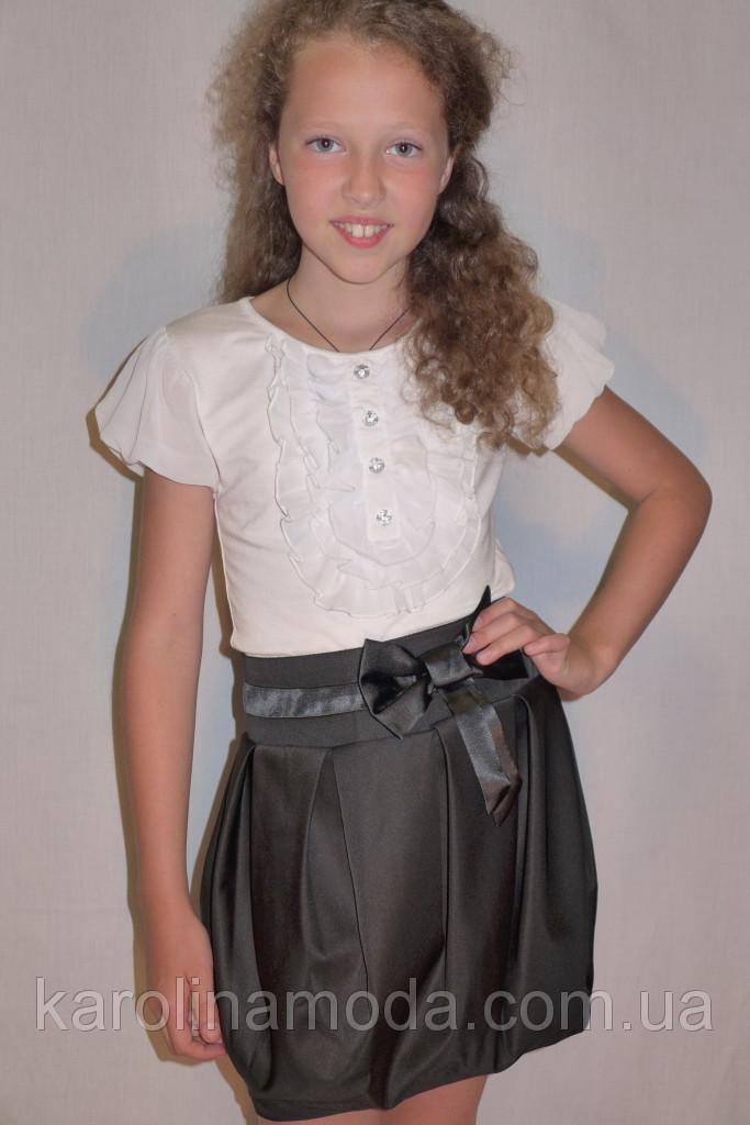 """Школьная юбка, юбка для девочек  """"Бочонок"""" черный."""