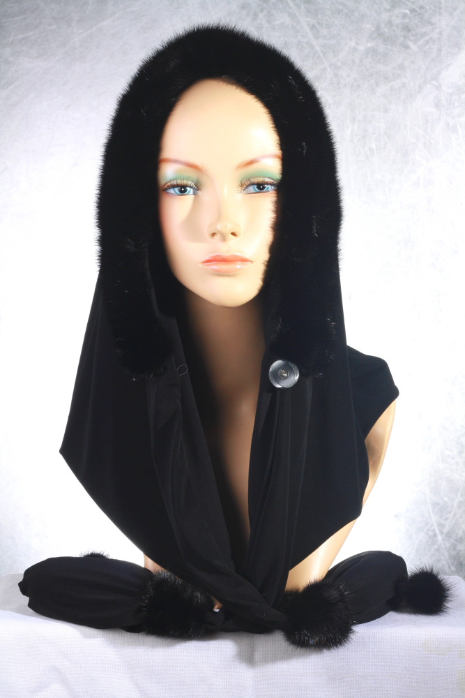 Женская меховая шапка - косынка из норки
