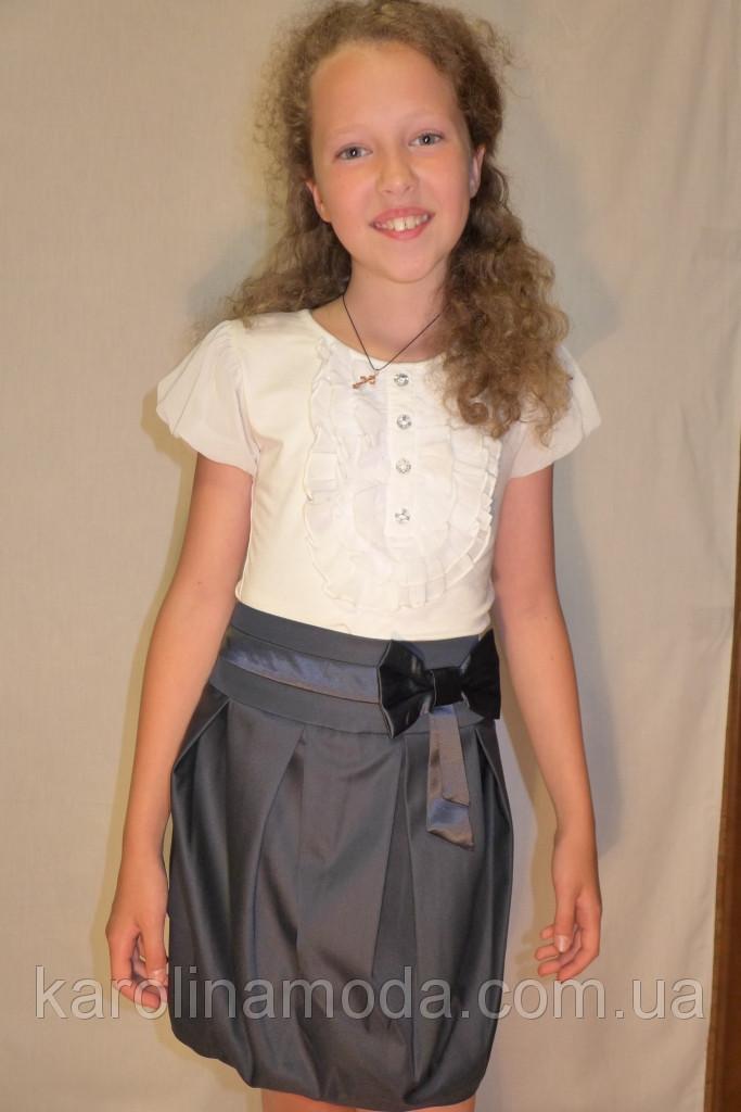 """Школьная юбка, юбка для девочек  """"Бочонок"""" синий."""