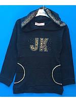 Модное платье туника для девочки с капюшоном  128-152