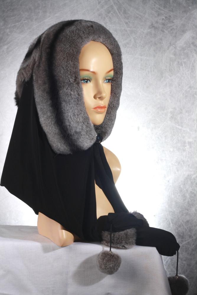 Женская меховая шапка - косынка из рекса