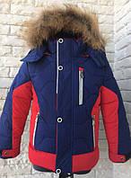 Куртка зимняя спортивная на мальчика 92-110 см, возраст 2, 3, 4, 5,6 лет. Красная