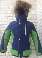 Куртка зимняя спортивная на мальчика 92-110 см, возраст 2, 3, 4, 5,6 лет. Зеленая