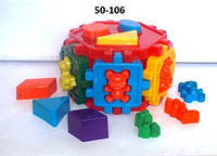 Развивающая игрушка Сортер-шестигранник с фигурами в виде животных 50-106