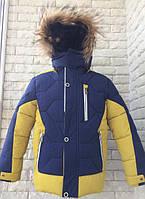 Куртка зимняя спортивная на мальчика 92-110 см, возраст 2, 3, 4, 5,6 лет. Желтая