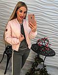 Женская демисезонная черная и розовая куртка-бомбер, фото 4