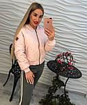 Женская демисезонная черная и розовая куртка-бомбер, фото 5