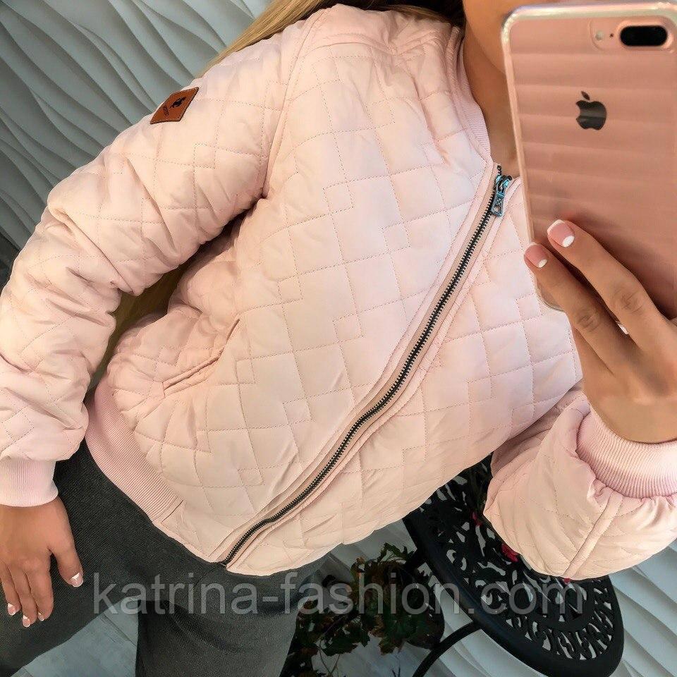розовая женская куртка бомбер на молнии