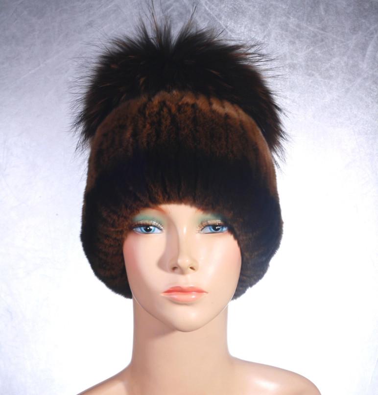 Женская меховая шапка Фонарик из рекса и енота