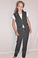"""Школьный костюм тройка жилетка для девочки """"Стиляшка"""" черный., фото 1"""