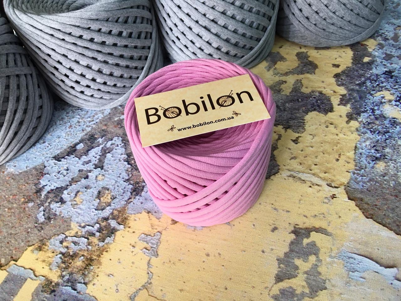 Трикотажная пряжа Bobilon Medium (7-9 мм) Bubble Gum Пыльная роза 50 метров