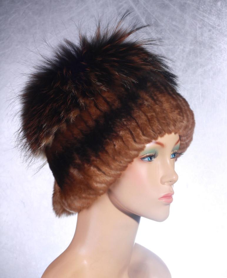 Женская меховая шапка Одуванчик из рекса и чернобурки
