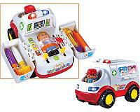 Детская музыкальная игрушка Скорая Помощь 836, музыкальная машинка скорая помощь с инструментами и человечками