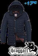 """Куртка подростковая зимняя Braggart """"Teenager"""" (тёмно-синяя с коричневым)"""