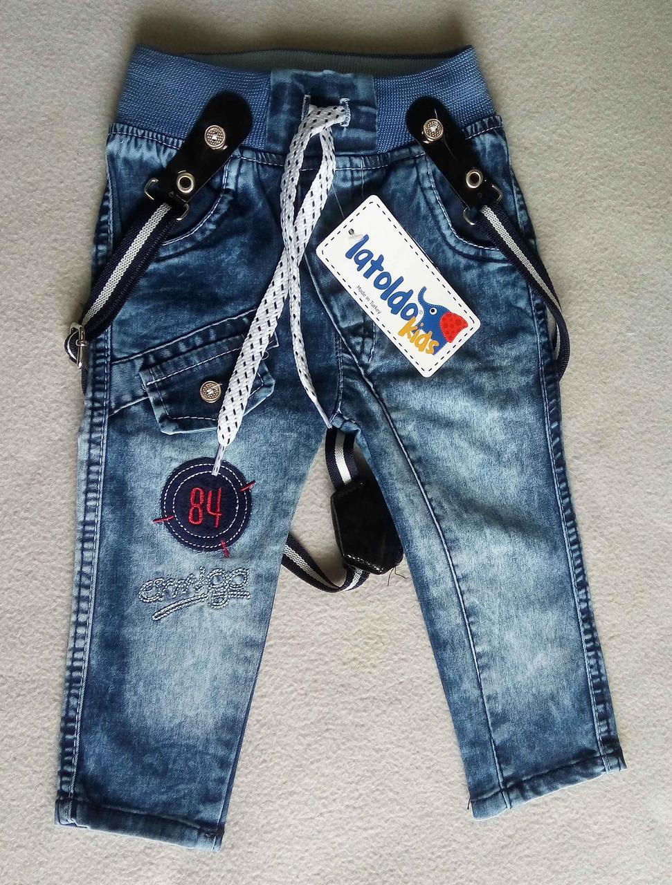Детские джинсы с подтяжками для мальчиков 6-18 месяцев Турция