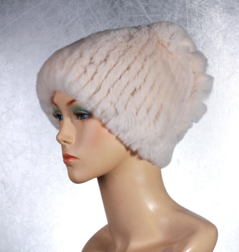 Женская меховая шапка Косичка из рекса