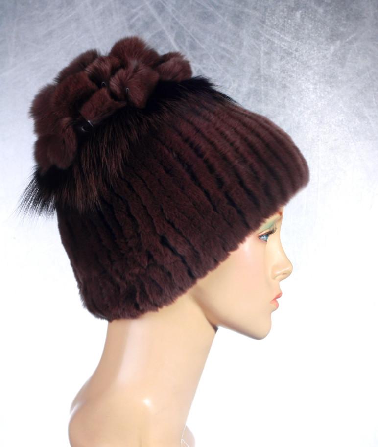Жіноча хутрова шапка «Ананас» з рекса