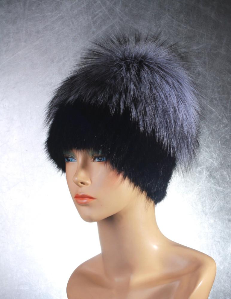 Женская меховая шапка «Эдэльвейс» из ондатры  и чернобурки
