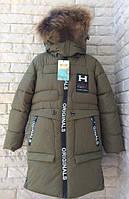 Куртка зимняя, пальто на мальчика 104-128 см, возраст 4, 5, 6, 7, 8 лет. Зеленый