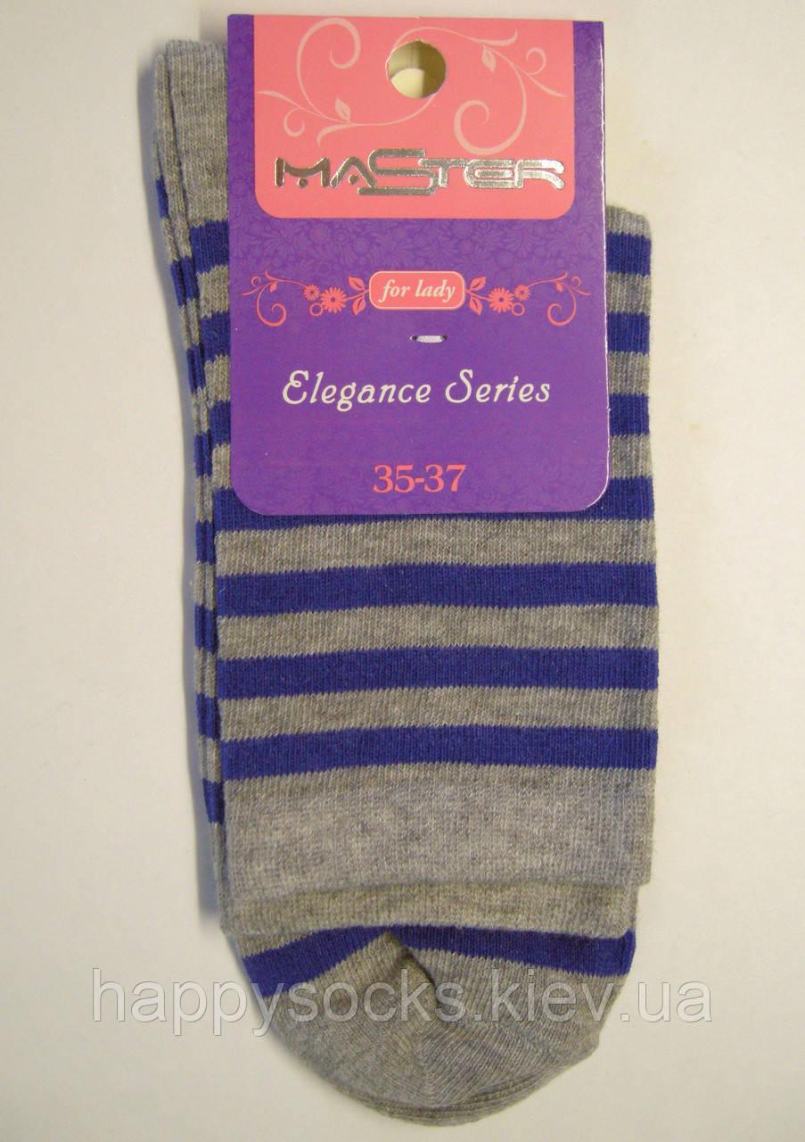 Высокие носки в синюю полоску серого цвета женские