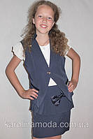 """Школьный костюм тройка жилетка для девочки """"Стиляшка"""" синий., фото 1"""