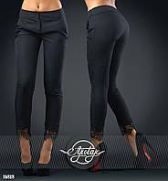 Укороченные брюки с кружевом черные