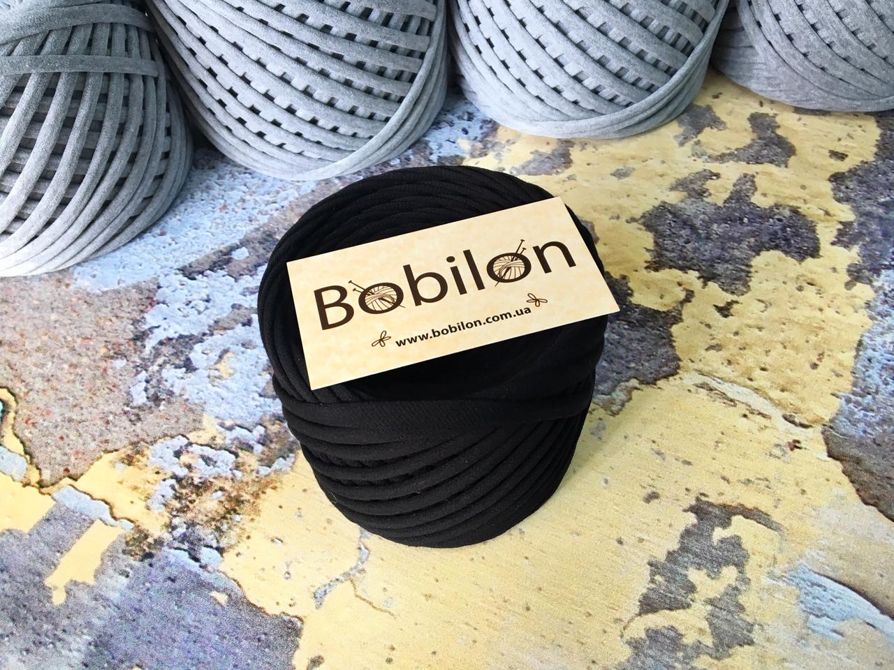 Трикотажная пряжа Bobilon Medium (7-9мм). Черный 50м.
