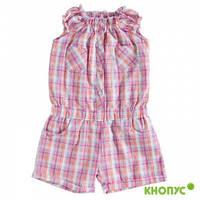 Комбинезон-шорты для девочки  (розовая клеточка), Girandola, размеры 110, 116