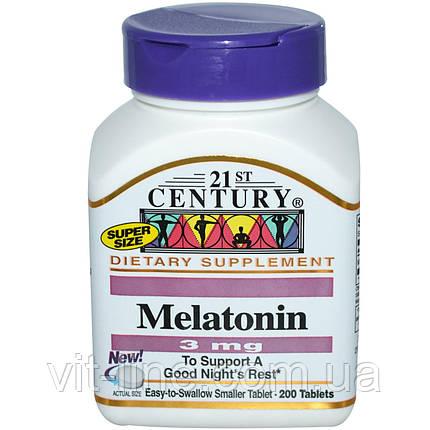 21st Century, Мелатонин, 3 мг, 200 таблеток, фото 2