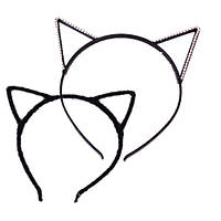 Ушки Кошечки со стразами, на обруче