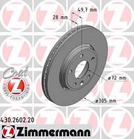 Тормозной диск передний ZIMMERMANN 430.2602.20