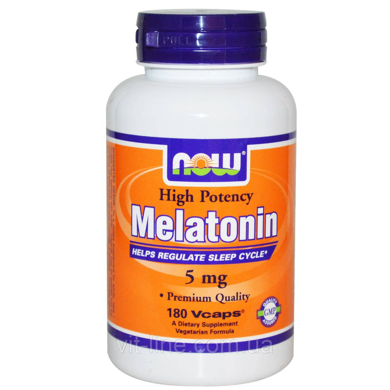 Now Foods, Мелатонин, высокая эффективность, 5 мг, 180 капсул в растительной оболочке