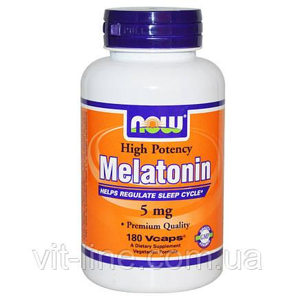 Now Foods, Мелатонин, высокая эффективность, 5 мг, 180 капсул в растительной оболочке, фото 2