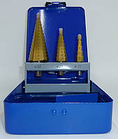 Свердло ступеневу по металу 4-12/4-20/4-32мм конусне набір 3 штуки HSS