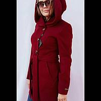 Пальто женское с капюшоном  приталенное