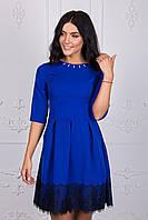 Стильное короткое платье синего цвета 111-3