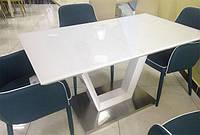 Стол раскладной ТМ-51 белая база стола, белая столешница МДФ с каленым стеклом 140-180х80х76Н