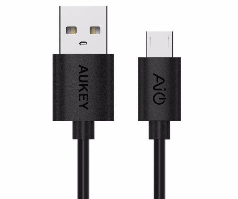 Micro USB кабель Aukey 0.3м. Быстрая зарядка, до 480 Mbps, 2А. Черный