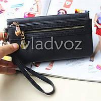 Модный женский кошелек клатч бумажник органайзер для телефона карточек денег черный