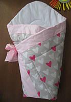 Демисезонный конверт -одеяло в роддом на выписку Сердечки-малина Серый